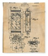 1931 Self Winding Watch Patent Print Antique Paper Fleece Blanket