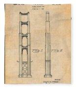 1932 San Francisco Golden Gate Bridge Antique Paper Patent Print Fleece Blanket