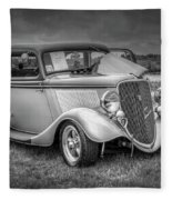 1933 Ford Tudor Sedan With Trailer Fleece Blanket