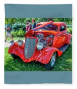 1934 Ford 3 Window Coupe Hot Rod Fleece Blanket