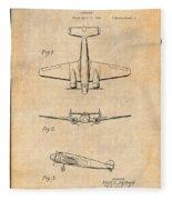 1934 Lockheed Model 10 Electra Airliner Patent Antique Paper Fleece Blanket