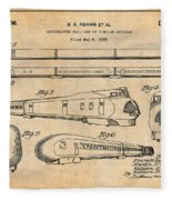1935 Union Pacific M-10000 Railroad Antique Paper Patent Print Fleece Blanket