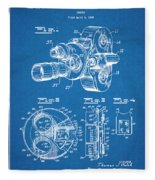 1938 Bell And Howell Movie Camera Patent Print Blueprint Fleece Blanket