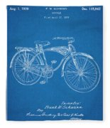 1939 Schwinn Bicycle Blueprint Patent Print Fleece Blanket
