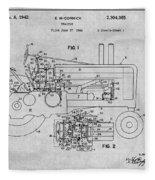 1942 John Deere Tractor Gray Patent Print Fleece Blanket