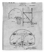 1944 Basketball Goal Gray Patent Print Fleece Blanket