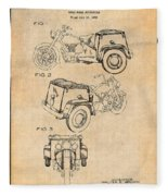 1952 3 Three Wheel Motorcycle Antique Paper Patent Print Fleece Blanket