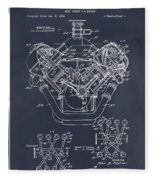 1954 Chrysler 426 Hemi V8 Engine Blackboard Patent Print Fleece Blanket