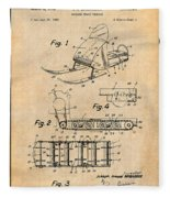 1960 Bombardier Snowmobile Antique Paper Patent Print Fleece Blanket