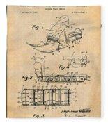 1960 Bombardier Snowmobile Antique Paper Patent Print Fleece Blanket