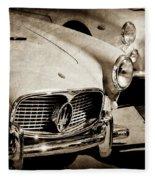 1960 Maserati Grille Emblem-1098scl3 Fleece Blanket by Jill Reger