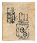 1960 Rolleiflex Photographic Camera Antique Paper Patent Print Fleece Blanket