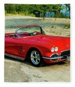 1962 Corvette Roadster Custom Fleece Blanket