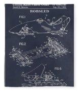 1982 Bobsled Blackboard Patent Print Fleece Blanket