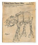 1982 Star Wars At-at Imperial Walker Antique Paper Patent Print Fleece Blanket