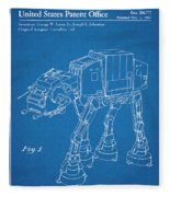 1982 Star Wars At-at Imperial Walker Blueprint Patent Print Fleece Blanket