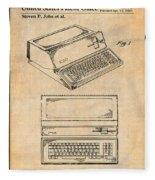 1983 Steve Jobs Apple Personal Computer Antique Paper Patent Print Fleece Blanket