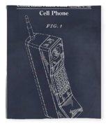 1988 Motorola Cell Phone Blackboard Patent Print Fleece Blanket