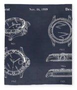 1999 Rolex Diving Watch Patent Print Blackboard Fleece Blanket