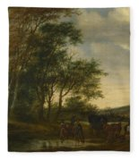 A Landscape With A Carriage And Horsemen At A Pool  Fleece Blanket