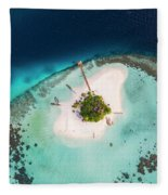 Aerial Drone View Of A Tropical Island, Maldives Fleece Blanket
