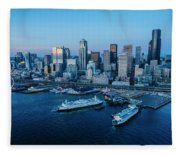 Aerial View Of A City, Seattle, King Fleece Blanket