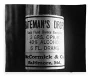 Antique Mccormick And Co Baltimore Md Bateman's Drops Opium Bottle Label - Black And White Fleece Blanket