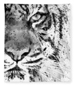 Black And White Half Faced Tiger Fleece Blanket