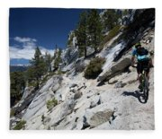 Cyclist On Mountain Road, Lake Tahoe Fleece Blanket