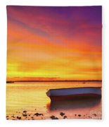 Fishing Boat At Sunset Time Fleece Blanket