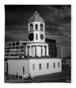 Halifax Town Clock 2017 Black  And White Fleece Blanket