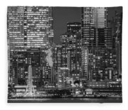 Illuminated City At Night, Seattle Fleece Blanket