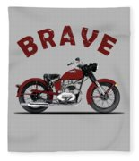 Indian Brave 1951 Fleece Blanket by Mark Rogan