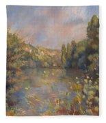 Lakeside Landscape  Fleece Blanket