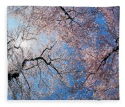 Low Angle View Of Cherry Blossom Trees Fleece Blanket
