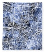 Munich Germany City Map Fleece Blanket