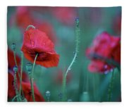 Red Corn Poppy Flowers Fleece Blanket