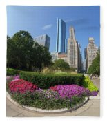 Summer Flowers In Bloom, Millennium Park, Chicago City Center, I Fleece Blanket