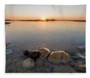 Sunset Over Platte River Fleece Blanket