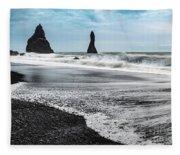 The Dramatic Black Sand Beach Of Reynisfjara. Fleece Blanket