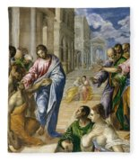 The Miracle Of Christ Healing The Blind  Fleece Blanket