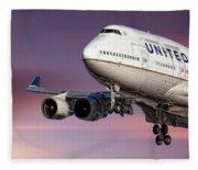 United Airlines Boeing 747-422 Fleece Blanket