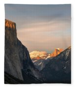 View Of Yosemite Valley From Tunnel View Point At Sunset Fleece Blanket