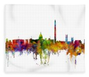 Washington Dc Skyline Fleece Blanket