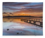 Early Morning Clouds And Reflections On The Bay Fleece Blanket