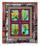 Antique Orchids Quatro On Rusted Metal And Weathered Wood Plank Fleece Blanket