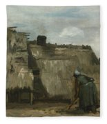 A Peasant Woman Digging In Front Of Her Cottage Fleece Blanket