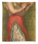 Dancing Girl With Tambourine  Fleece Blanket