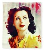 Hedy Lamarr, Vintage Movie Star Fleece Blanket