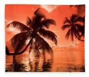 Palm Trees At Sunset, Moorea, Tahiti Fleece Blanket